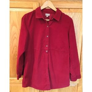 J Jill Red Corduroy Tunic Shirt Size Medium